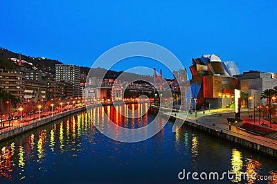Guggenheim Museum at night in Bilbao Editorial Photo