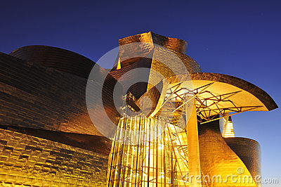 Guggenheim Museum at night in Bilbao, Spain Editorial Photography