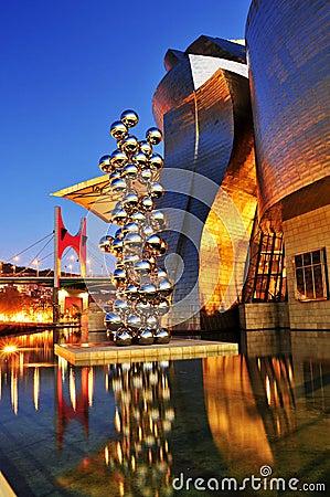 Guggenheim Museum at night in Bilbao, Spain Editorial Image