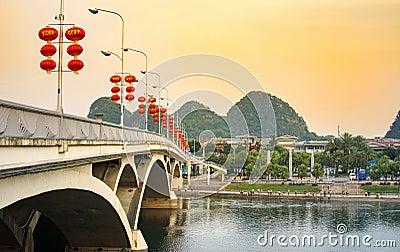 GUILIN, CHINA - SEPTEMBER 22, 2016: Bridge over Li river in the Editorial Stock Photo