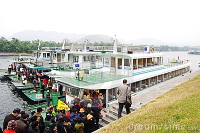 Guilin Li River Cruise dock,China Editorial Stock Photo