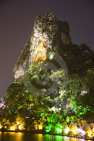 Guilin s Dai Cai Hill at Night