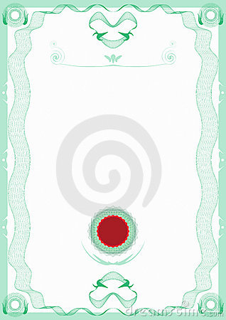 Guilloche Green Border Certificate with Red Seal