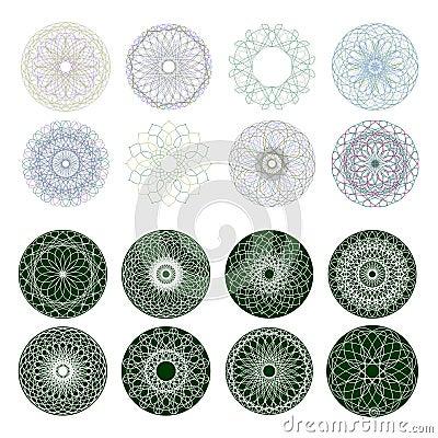 Guilloche rosette,  pattern. EPS 8