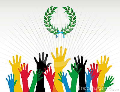 Guirlande de laurier de couleurs de mains de Jeux Olympiques