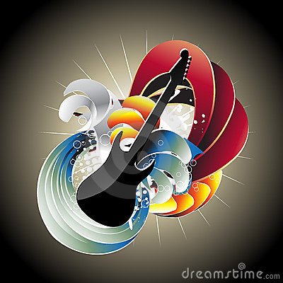 Guitar in abstract background