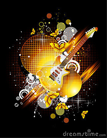 Free Guitar And Butterfly Royalty Free Stock Photography - 13826357