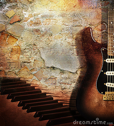 Free Guitar And Piano On Brick Wall Royalty Free Stock Photo - 15840105