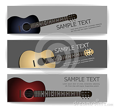 Free Guitar Banners Royalty Free Stock Photo - 44317095