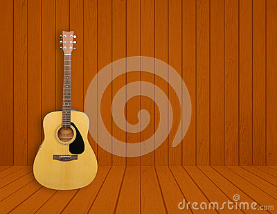 Royalty Free Stock Images: Guitar in blank room background