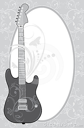guitar in the decorative frame