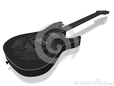 Guitar with figure of a bird