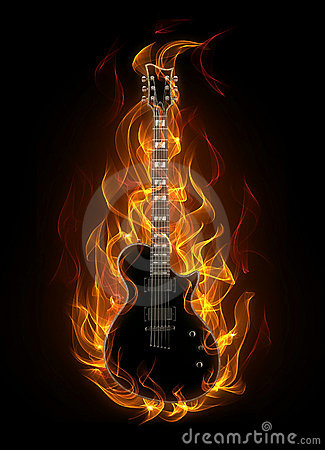 Guitar In Fire Royalty Free Stock Photo Image 19321635