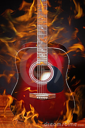 guitar acoustic fire flame - photo #18