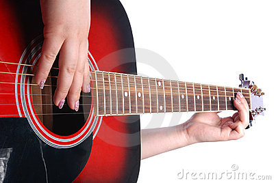 Guitar in girl hand