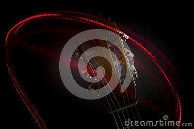 Guitar head and red light