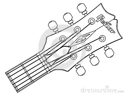 Guitar Headstock Outline Vector Illustration