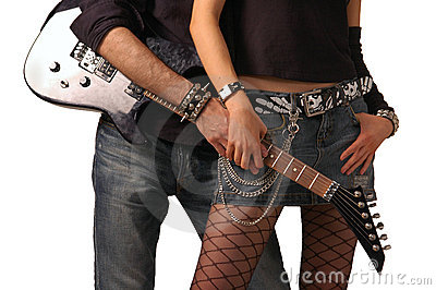 Guitar holding by rock couple