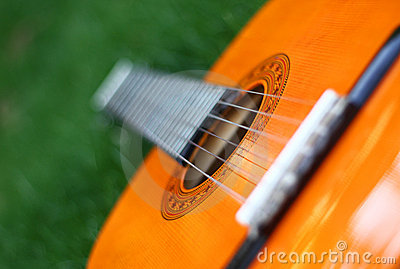 Guitar lay on grass