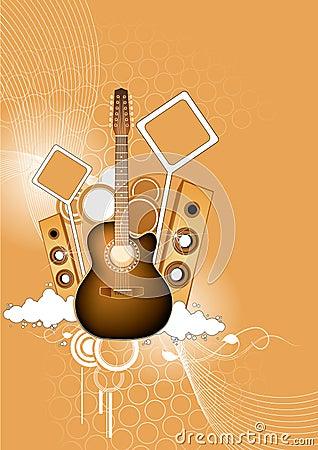 Guitar and loudspeakers