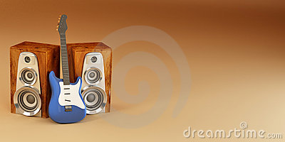 Guitar and louspeakers on yellow background