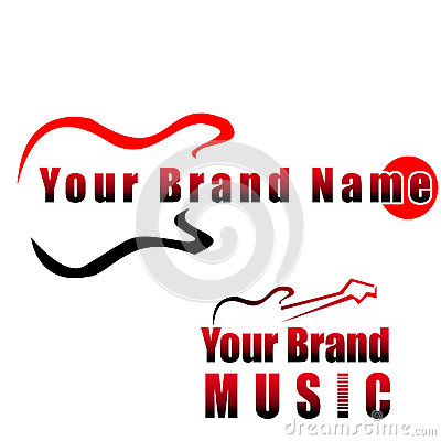 Free Guitar - Music Compay Logo, Royalty Free Stock Images - 25411139