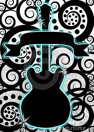 Guitar Music Spirals Poster  Stock Photo - Image: 14092780
