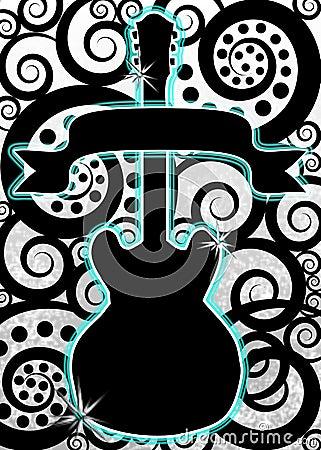Guitar music spirals poster