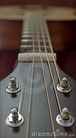 Guitar neck and strings soft focus