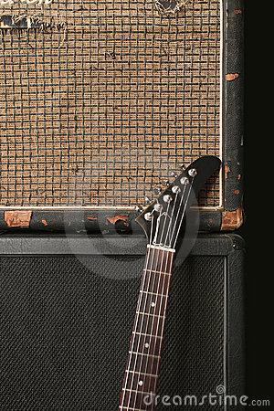 Guitar and old amplifier stack