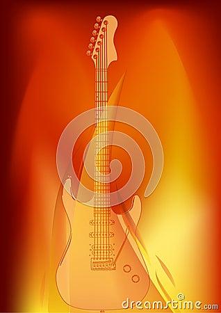 Guitar in orange flame illustration