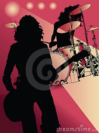 Guitar player and drummer