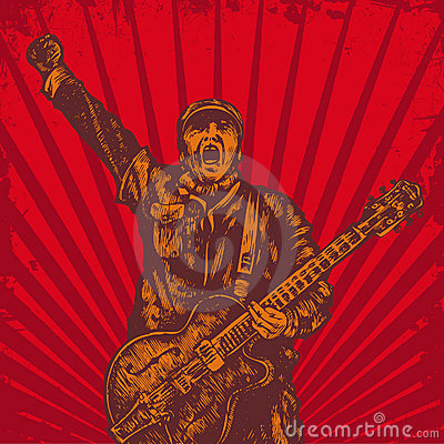 Free Guitar Player In Retro Style Royalty Free Stock Photos - 12819608