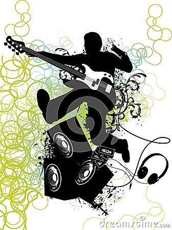 Guitar player jumps