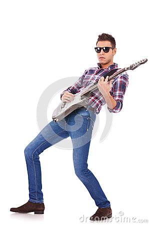 Guitar Player Playing Rock And Roll Royalty Free Stock ...