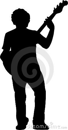 Free Guitar Player Silhouette - Front View Stock Image - 1153221