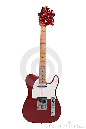 Guitar with a red bow