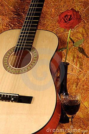 Guitar, rose, wine