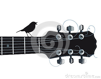 Guitar with singing bird