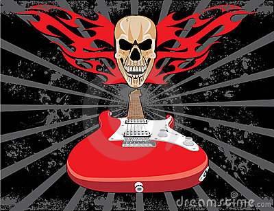 Guitar and skull grunge style