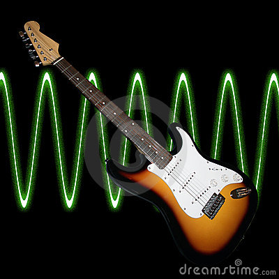 guitar with sound waves royalty free stock photo image 12321575. Black Bedroom Furniture Sets. Home Design Ideas