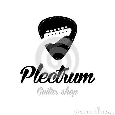 Guitar store logo. Guitar headstocks isolated plectrum shape Vector Illustration