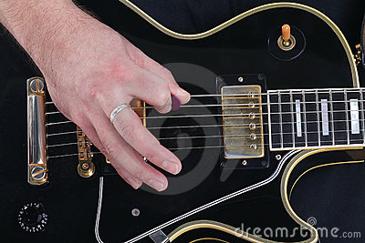 Guitar, string and hand