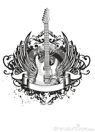 Free Guitar With Wings, Patterns Stock Images - 26046174