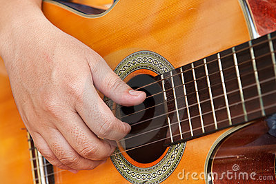 Guitare et main