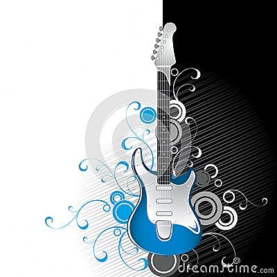 Guitare sur noir et blanc
