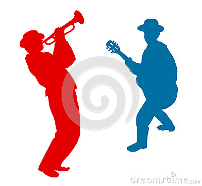 Free Guitarist And Trumpeter Plays Music. Stock Photography - 67325522