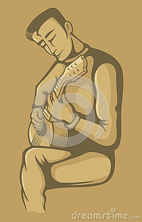 The guitarist on beige
