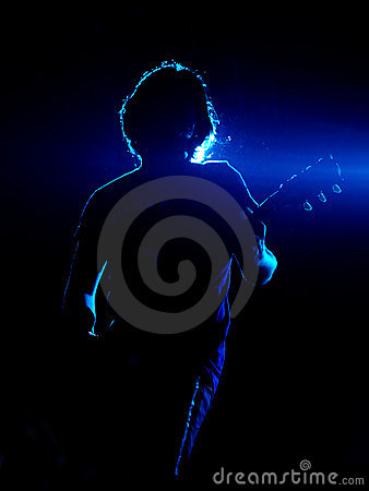 Guitarist in blue Editorial Photography