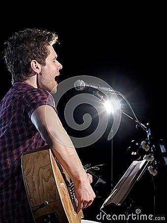 Guitarist player singing